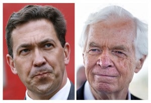 A combination photo shows Tea Party candidate Chris McDaniel (L) attending a rally in Madison, Mississippi and Republican U.S. Senator ThadCochran campaigning in Pass Christian, Mississippi June 19, 2014. (Jonathan Bachman/Reuters)