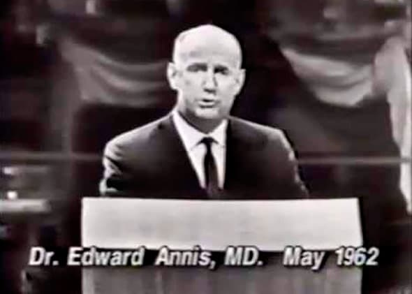 Dr. Edward Annis rebuts President Kennedy's Medicare push at Madison Square Garden, where the president had spoken two nights earlier. (YouTube via John Dickerson)