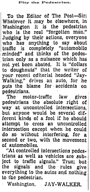 A letter to the editor published in the Washington Post on April 1, 1934.