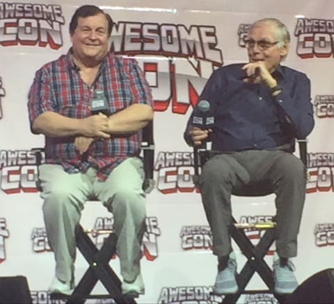 Burt Ward, left, and Adam West rib each other good-naturedly during Saturday's Awesome Con DC panel to celebrate the 50th anniversary of the