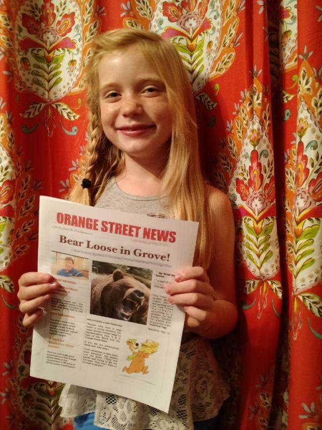 Hilde Kate Lysiak, 9, of Selinsgrove, Pa., publishes both a print and online version of the Orange Street News, and she scooped her adult competition Saturday with news of a homicide. (Matthew Lysiak)