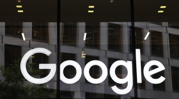 The Google logo is seen on its office building in St Pancras in London. (EPA/ Facundo Arrizabalaga)