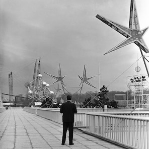 Giant stars hanging over broad promenades added a bright touch to the Brussels Universal and International Exposition in 1958.