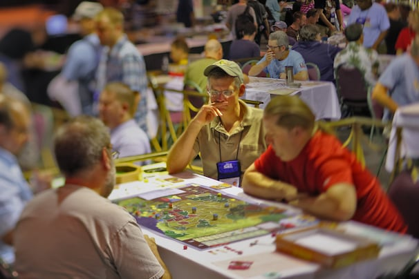 War game designer Volko Ruhnke plays the board game Angola at the World Boardgaming Championships in Lancaster, Pa., in August.