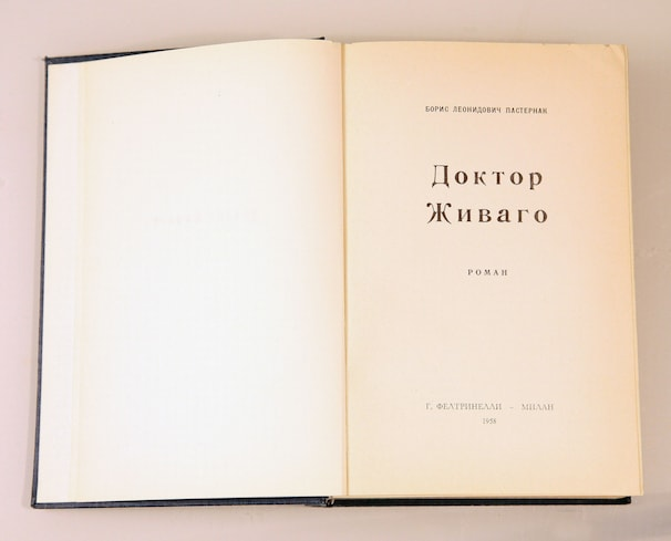 "The title page from a 1958 Russian-language edition of ""Doctor Zhivago"" that the CIA arranged to have secretly printed in the Netherlands and distributed to Soviet tourists at the 1958 world's fair in Brussels."
