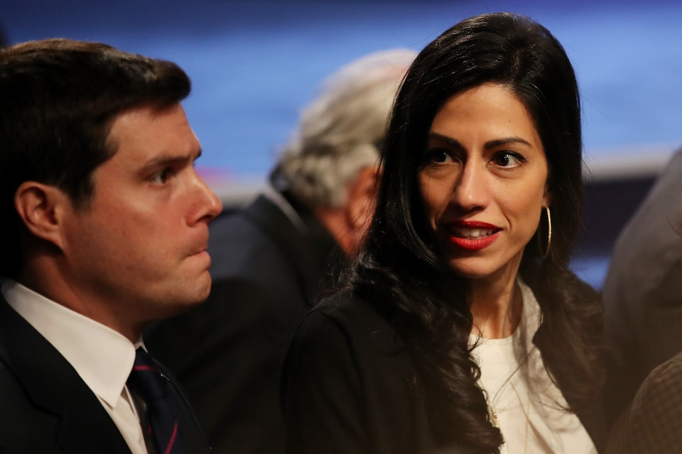 LAS VEGAS, NV - OCTOBER 19: Senior Clinton Campaign staffer Huma Abedin and traveling press secretary Nick Merrill (L) are seen after the third U.S. presidential debate at the Thomas & Mack Center on October 19, 2016 in Las Vegas, Nevada. Tonight is the final debate ahead of Election Day on November 8. (Photo by Drew Angerer/Getty Images)