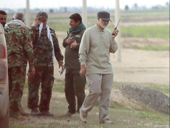 Commandant de la Force Qods dans les Gardiens de la révolution iraniens, Qassem Suleimani, à Tikrit, Irak, mars 2015. Reuters