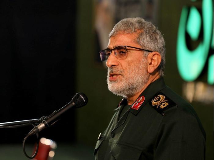Le commandant de la force Qods Ismail Kani lors d'une cérémonie marquant l'anniversaire de l'assassinat de Qassem Suleimani à l'Université de Téhéran, Iran, le 1er janvier 2021. Reuters
