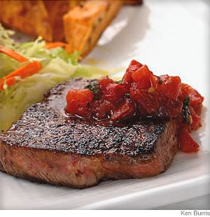 chili rubbed steaks and pan salsa