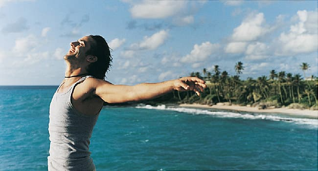 happy man at the beach