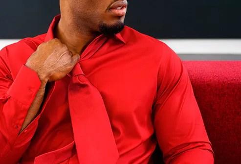 man wearing red shirt