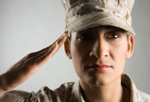 Female Soldier Saluting