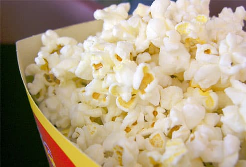 Fresh popcorn in carton