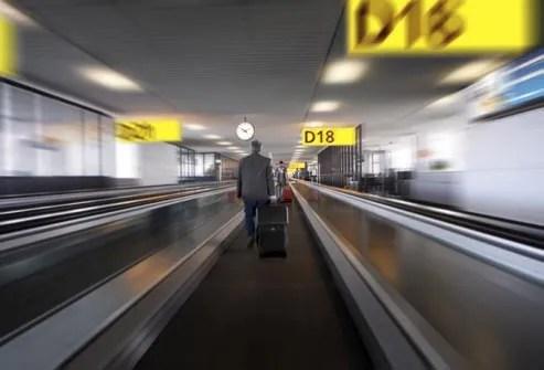 man walking on travelator
