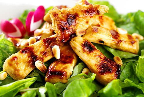 Glazed chicken salad with pine nuts & radishes