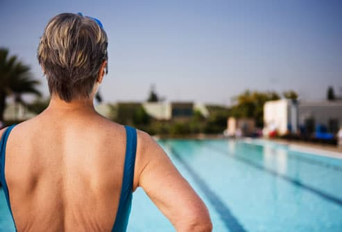 Older Woman About to Swim