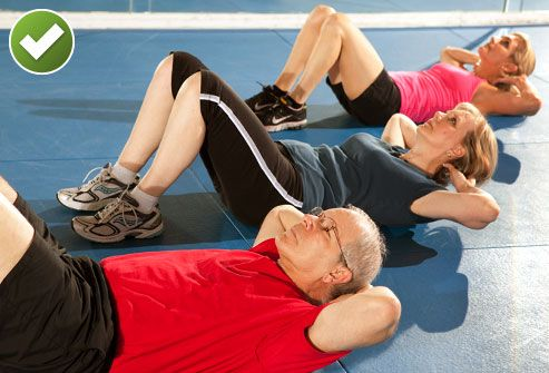 Three People Doing Crunches