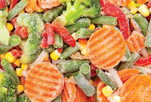 frozen vegetables close up