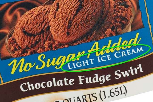 photo of light ice cream label