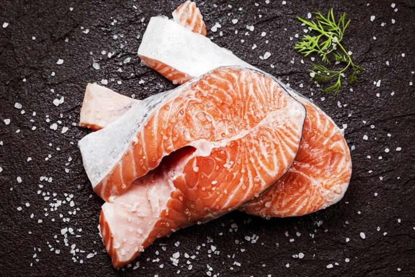 salted salmon steaks
