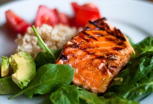 salmon and avocado dinner