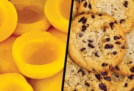 canned peaches and chocolate chip cookies diptych