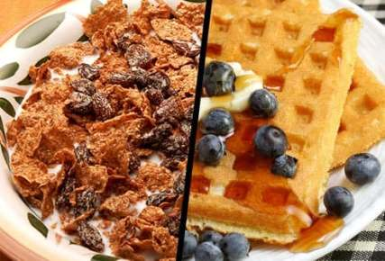 raisin bran and blueberry waffle diptych