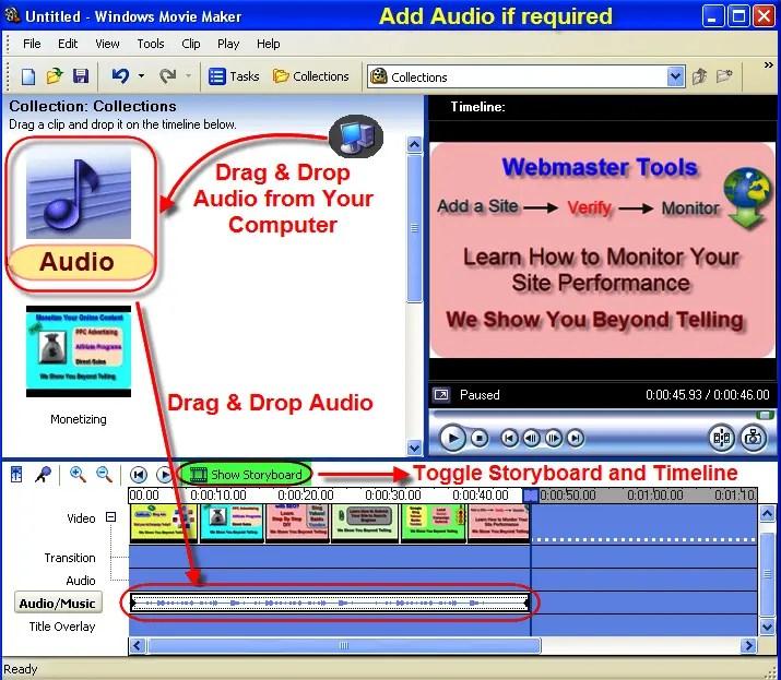 Добавление звука в видео в Windows Movie Maker