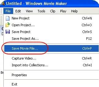 Сохранение файла фильма в Windows Movie Maker