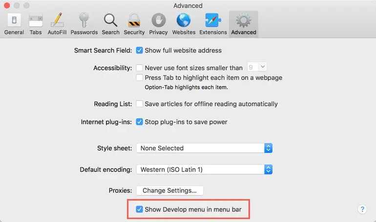 Включить меню разработчика в Safari