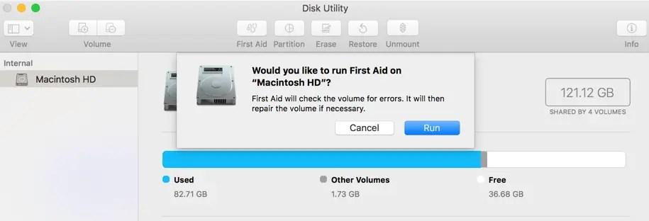 Используйте первую помощь для проверки жесткого диска