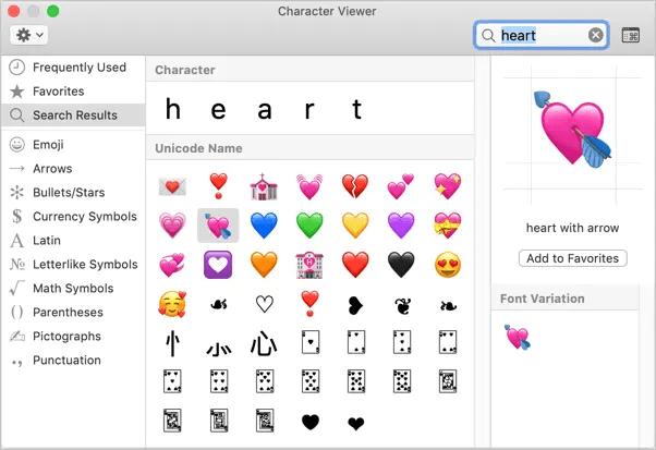 Символы сердца в программе просмотра персонажей Mac