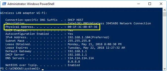 Проверьте MAC-адрес в Windows PowerShell