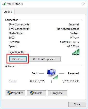 Проверить детали статуса сети