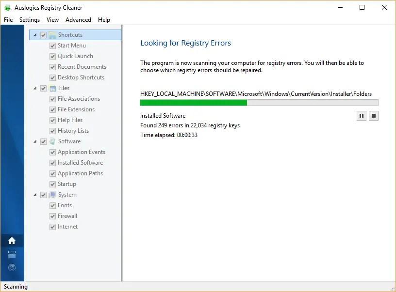 Проверка ошибок реестра с помощью Auslogics
