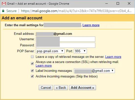 Добавление учетной записи электронной почты с настройками