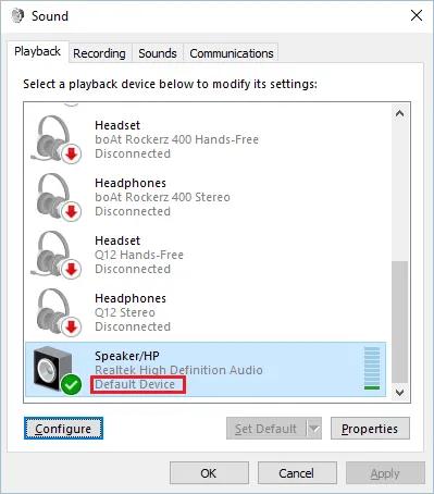 Установить аудиоустройство по умолчанию