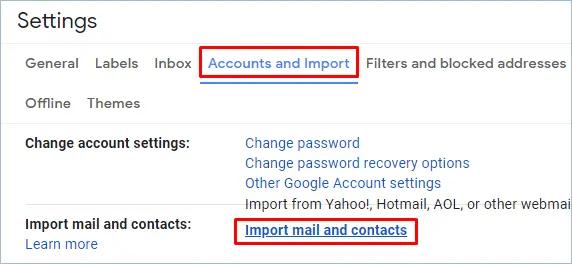 Импорт ссылки на почту и контакты