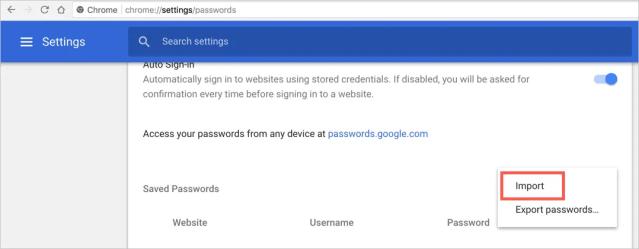 Import Password in Chrome