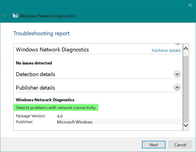 Средство диагностики сети Windows