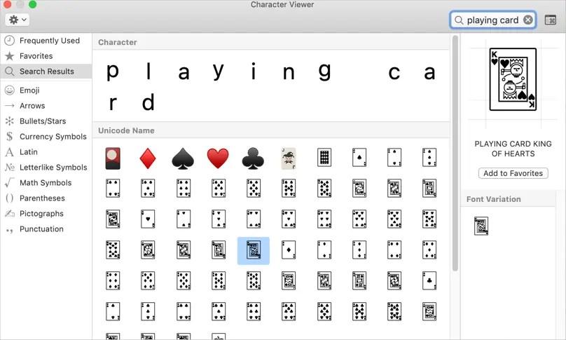 Символы игральных карт в программе просмотра персонажей Mac