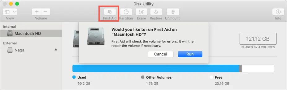 Запуск программы FirstAid для исправления ошибок громкости