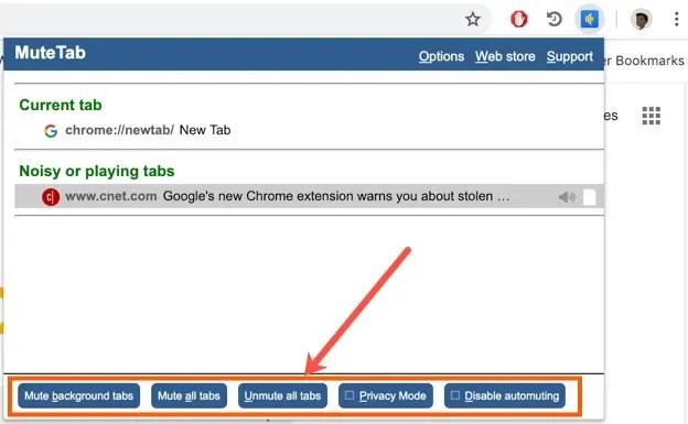 Расширение Chrome Mute Tab