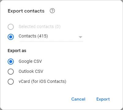 Скачать контакты