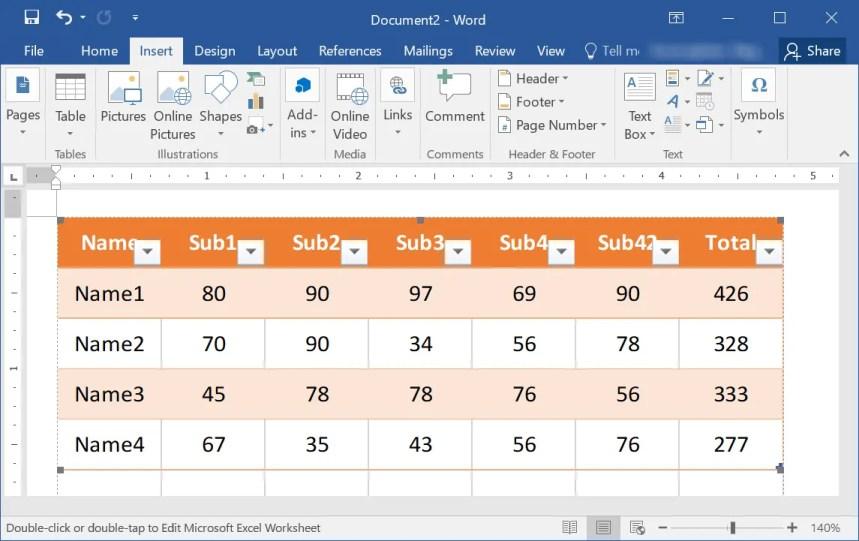 Вставить Excel как ссылку в Word