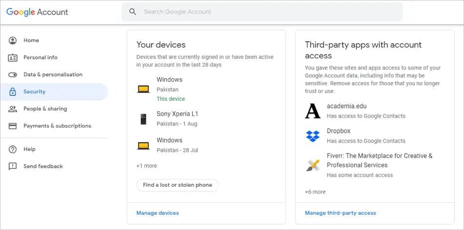 Приложения с доступом к вашей учетной записи