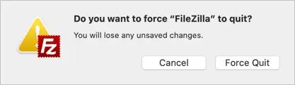 Подтвердите принудительный выход на Mac