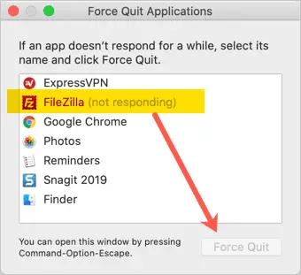 Принудительно закрыть приложение на Mac