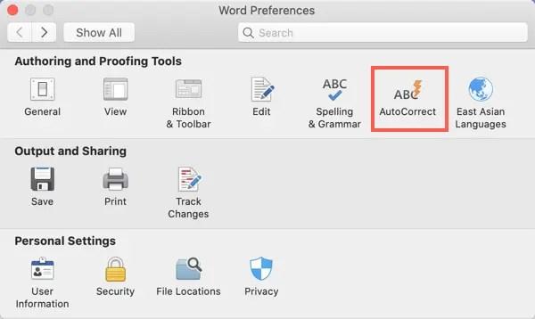 Автозамена в Office 365 Mac