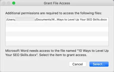 Предоставить доступ к файлам в macOS